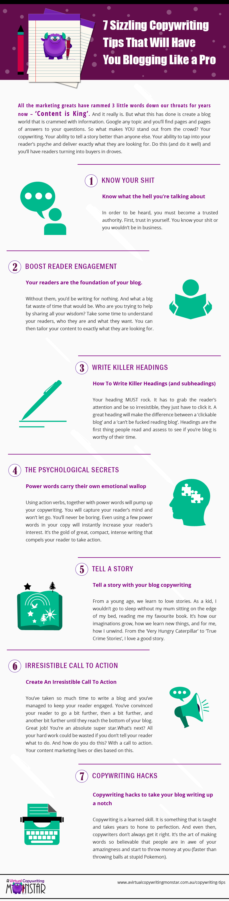 7 Copywriting Tips Info-graphic