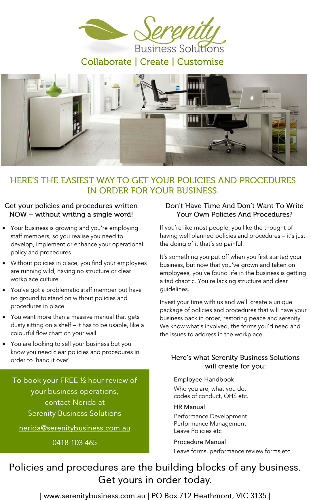 Serenity Business Solutions - Flyer Copywriting